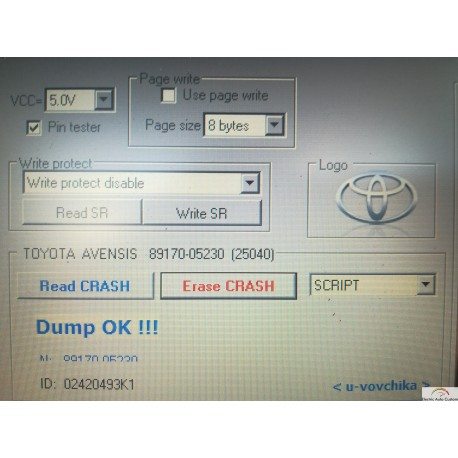 Crash data TOYOTA AVENSIS TRW 89170-05230